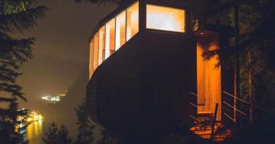 Отдохните в уютном норвежском лесном домике на дереве с видом на фьорд